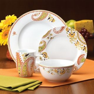Rachael Ray Dinnerware Paisley 16-piece Porcelain Dinnerware Set & Rachael Ray Dinnerware Paisley 16-piece Porcelain Dinnerware Set ...