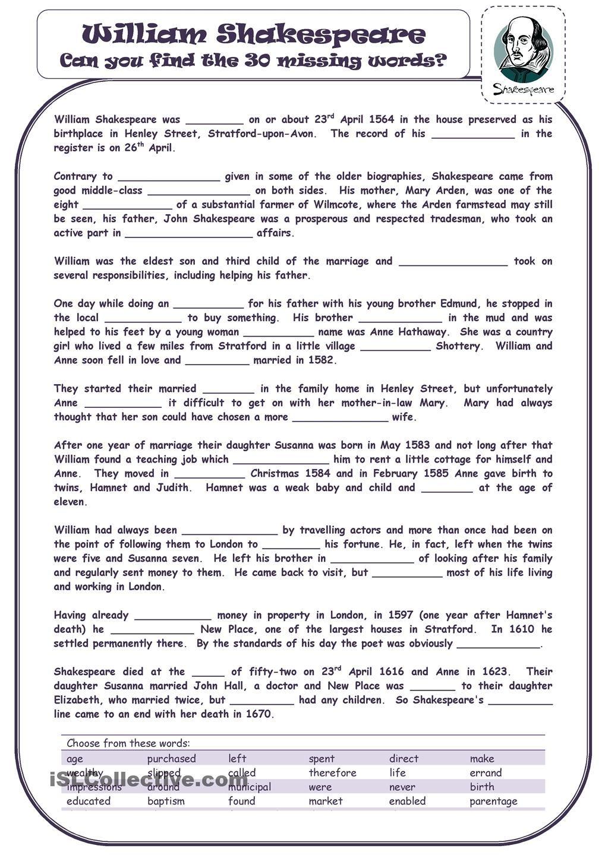 worksheet Shakespeare Worksheets william shakespeare reading comprehension pinterest shakespeare