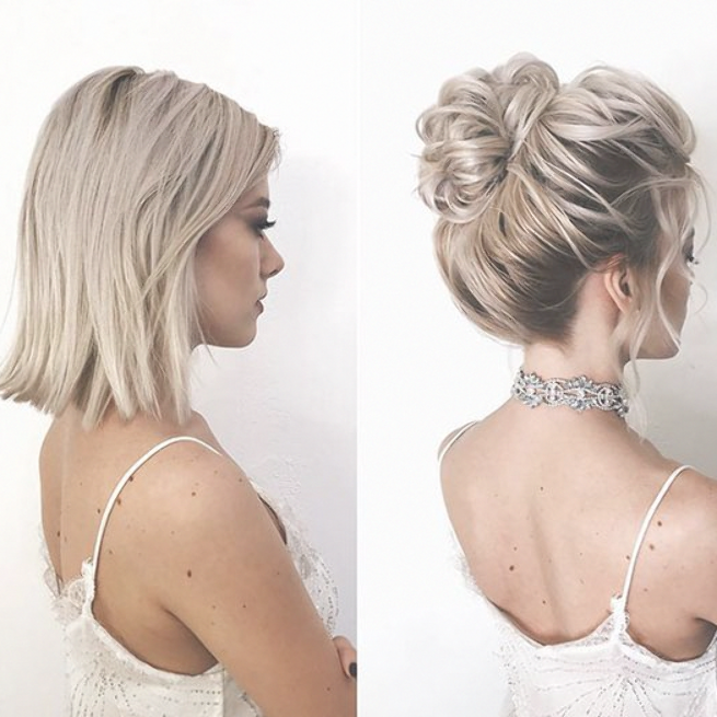 35 Stylish Wedding Hairstyles For Short Hair In 2019 Wedding Hairstyles Short Wedding Hairstyle Shoulde Short Hair Updo Medium Hair Styles Short Hair Styles