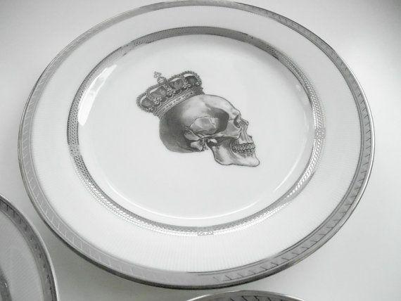 Platinum/Silver 3Piece Skull Dinnerware Set by AngiolettiDesigns $65.00 & Platinum/Silver 3Piece Skull Dinnerware Set by AngiolettiDesigns ...