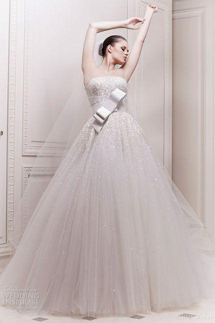 zuhair murad - Deslumbrante vestido de novia con apliques de cristal y falda vaporosa de tul