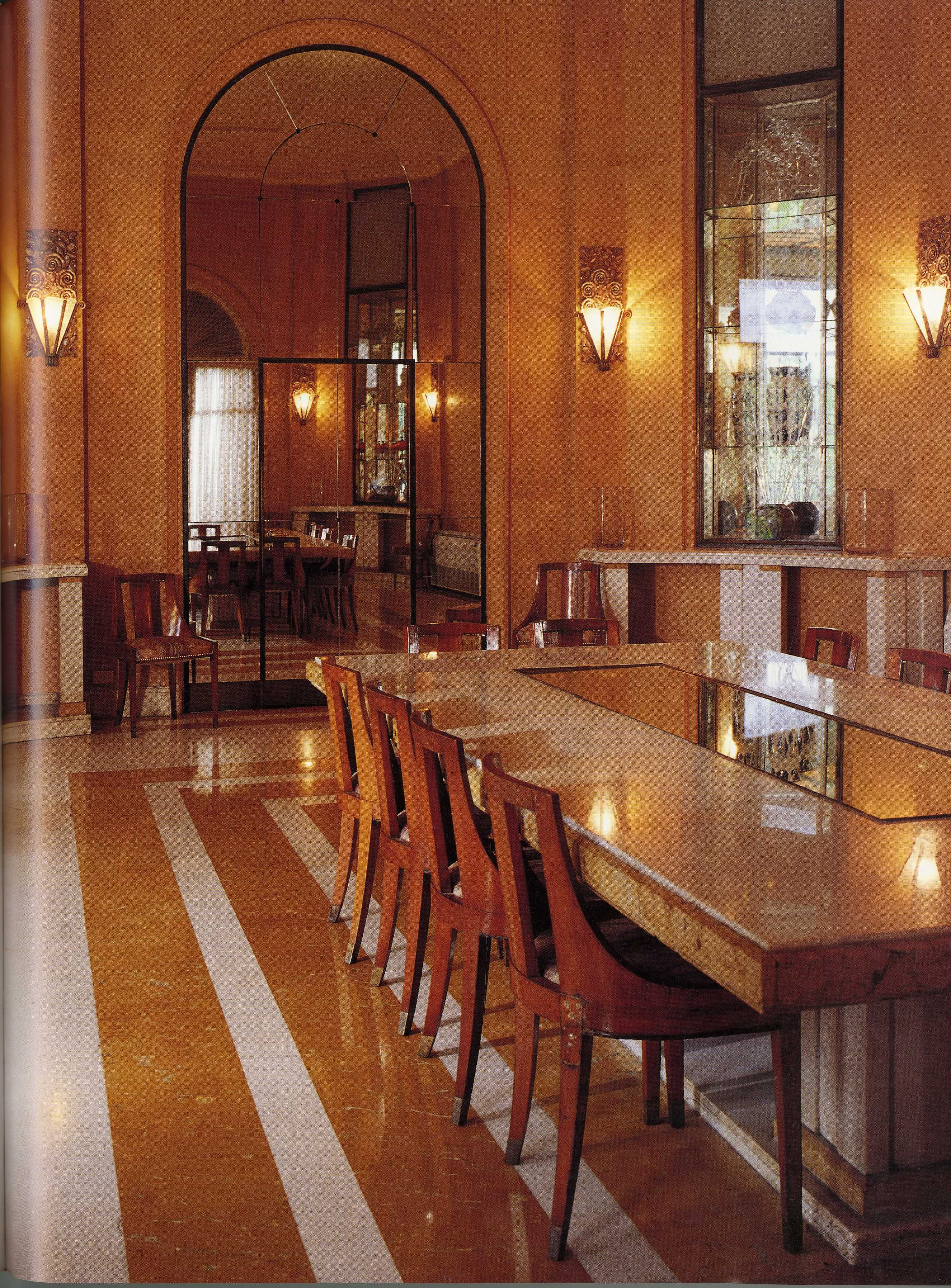 Custom Marble Deco Dining Table and Lalique Sconces Laza
