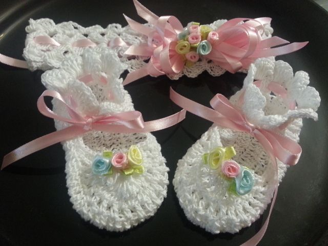 CROCHET BABY SHOES AND HEAD BAND   MY BABY CREACIONS ...