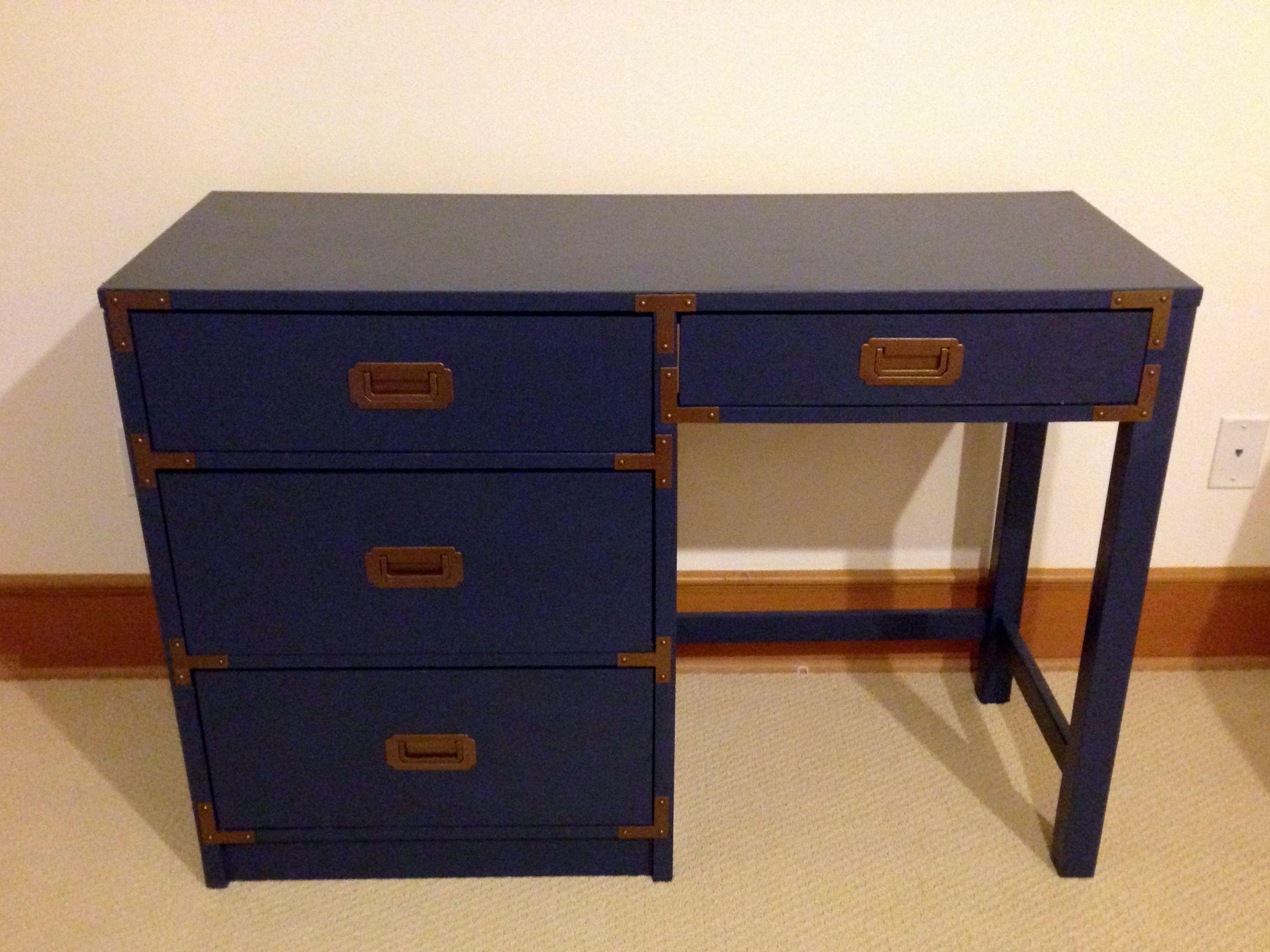 Desk furniture hardware - Refinished Navy Blue Campaign Desk With Original Brass Hardware