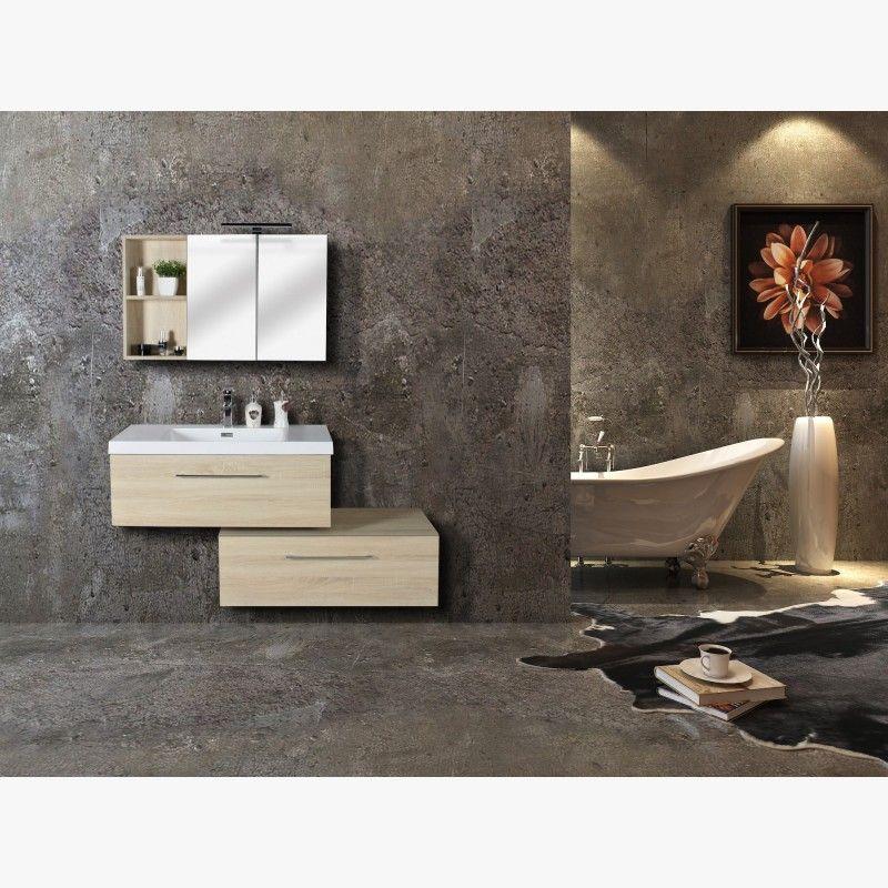 Aquazur meuble salle de bain deux tiroirs décalés