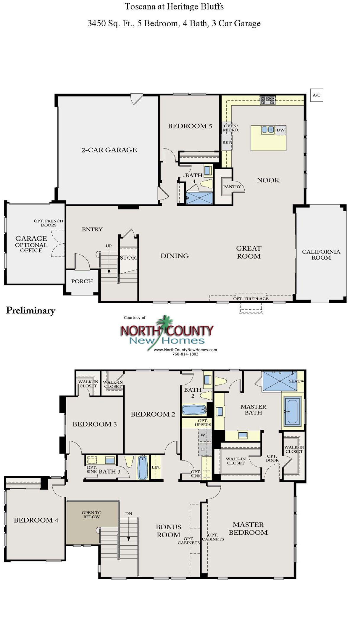 Toscana New Homes in San Diego Floor Plans Floor plans