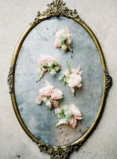 Blush boutonnieres beautifully styled: http://www.stylemepretty.com/collection/2127/