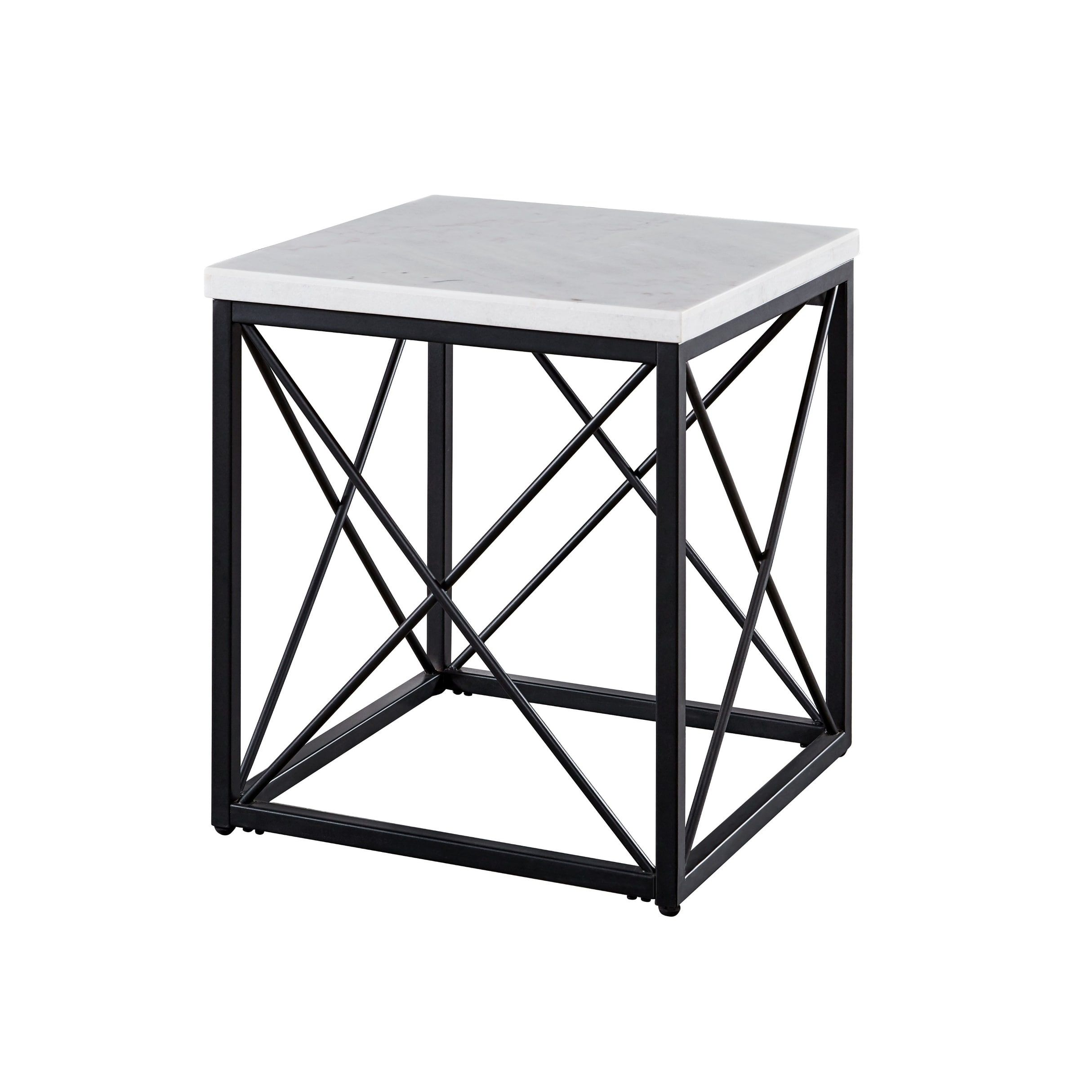 Stella Modern White Marble Square End Table By Greyson Living