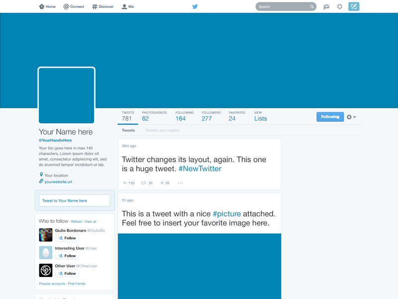 Freebie twitter 2014 gui psd new profile template template freebie twitter 2014 gui psd new profile template pronofoot35fo Image collections