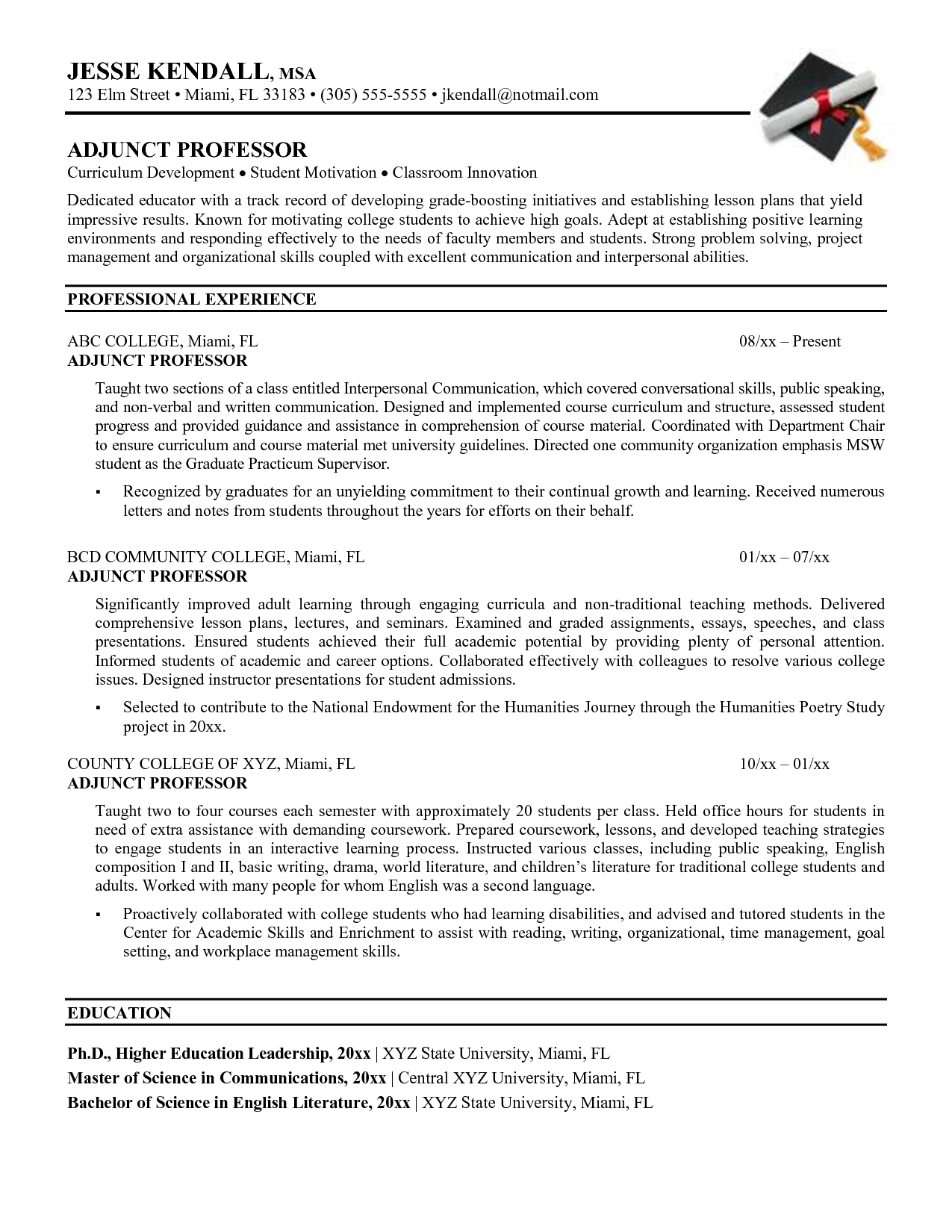 sample resume for faculty position engineering adjunct professor resume