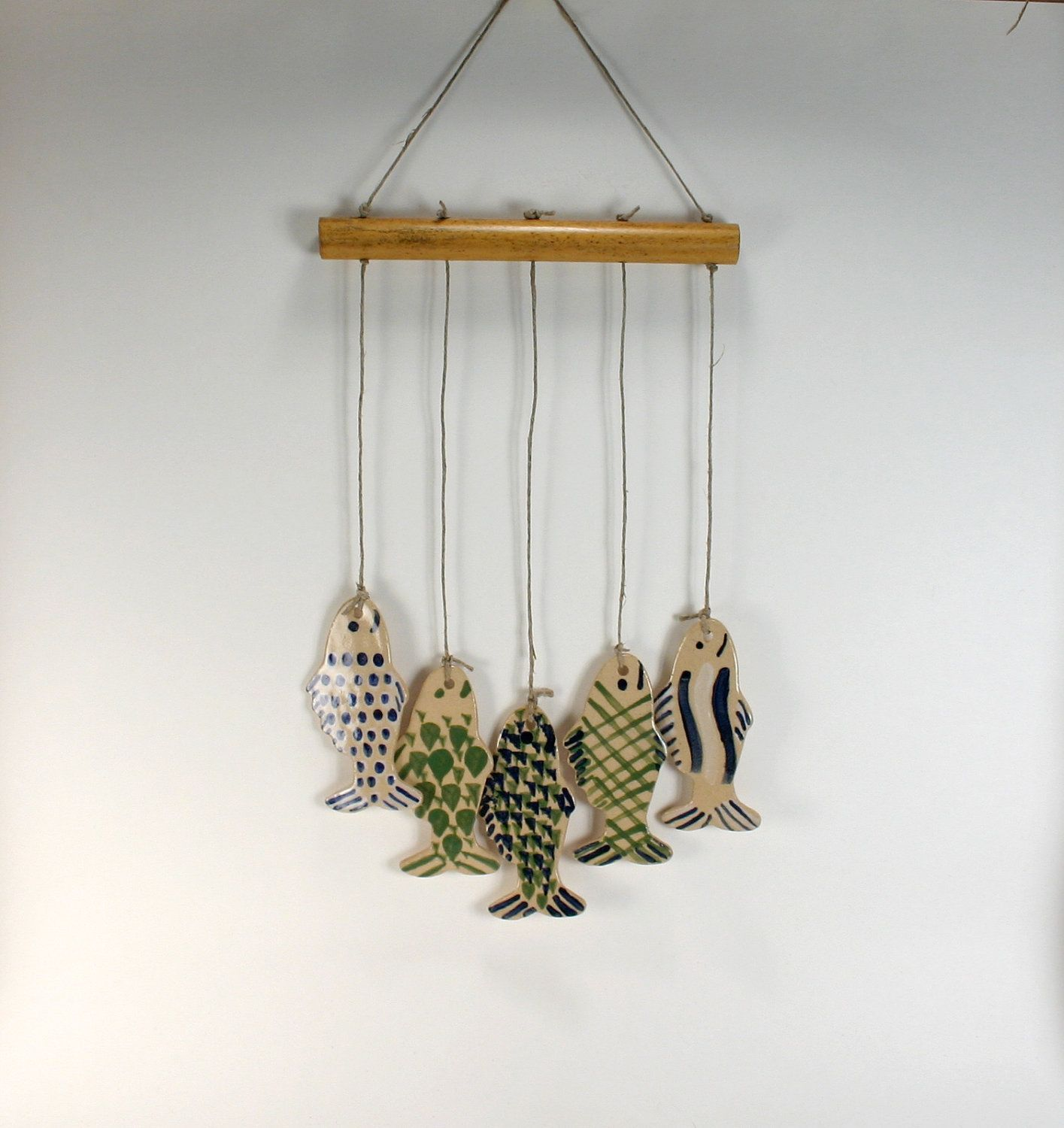 5 Blue And Green Fish Handmade Stoneware Wind Chimes Now I Know What To Do With All My Fish Wind Chimes Pottery Techniques Ceramic Fish