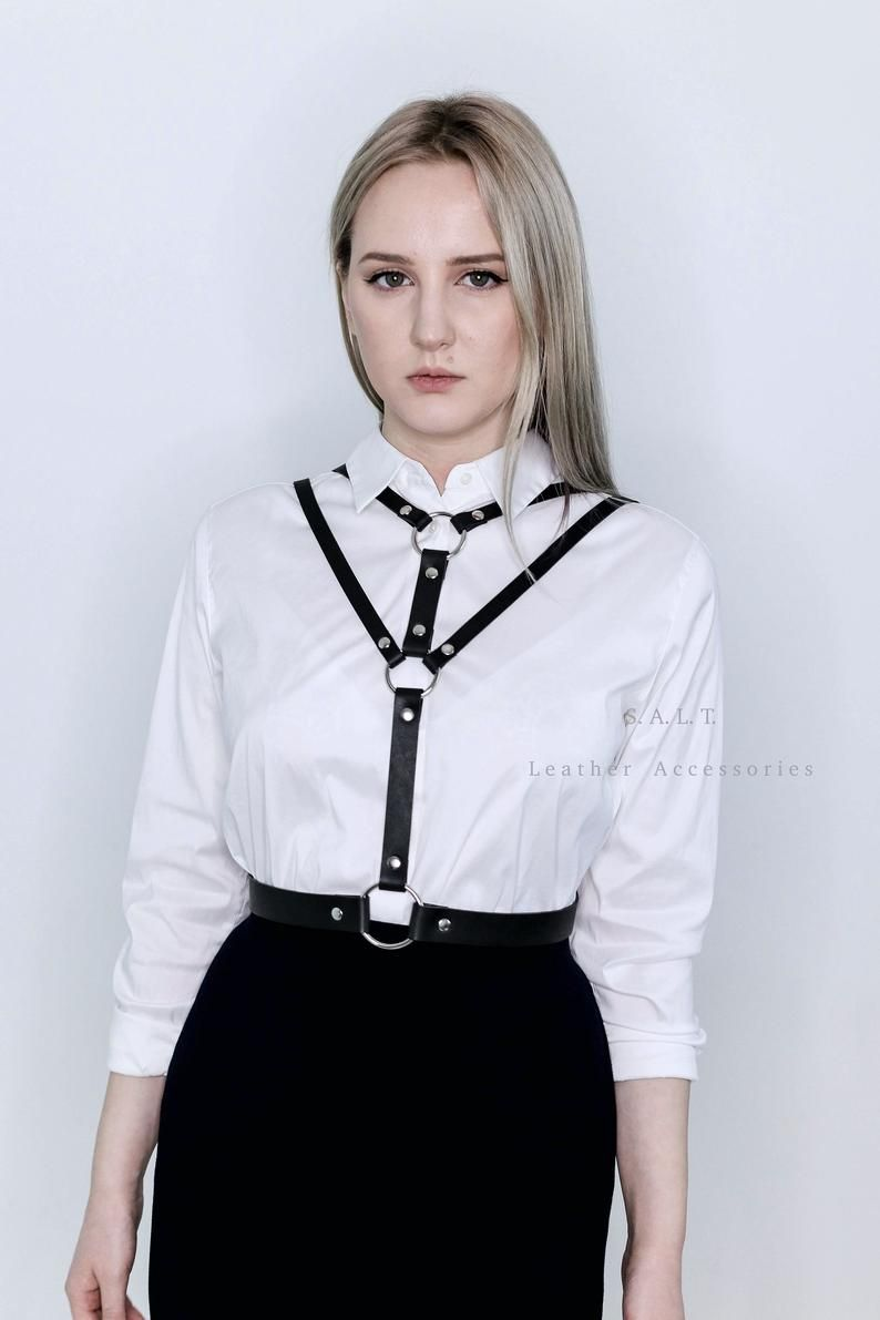 iiniim Womens PU Leather Chest Harness Punk Harness Adjustable Straps Waist Belt Harness