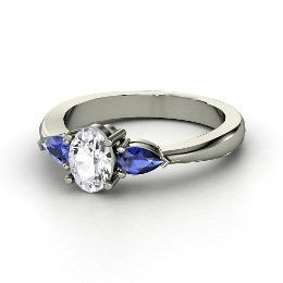 Alma Ring, Oval White Sapphire White Gold Ring with Sapphire from Gemvara