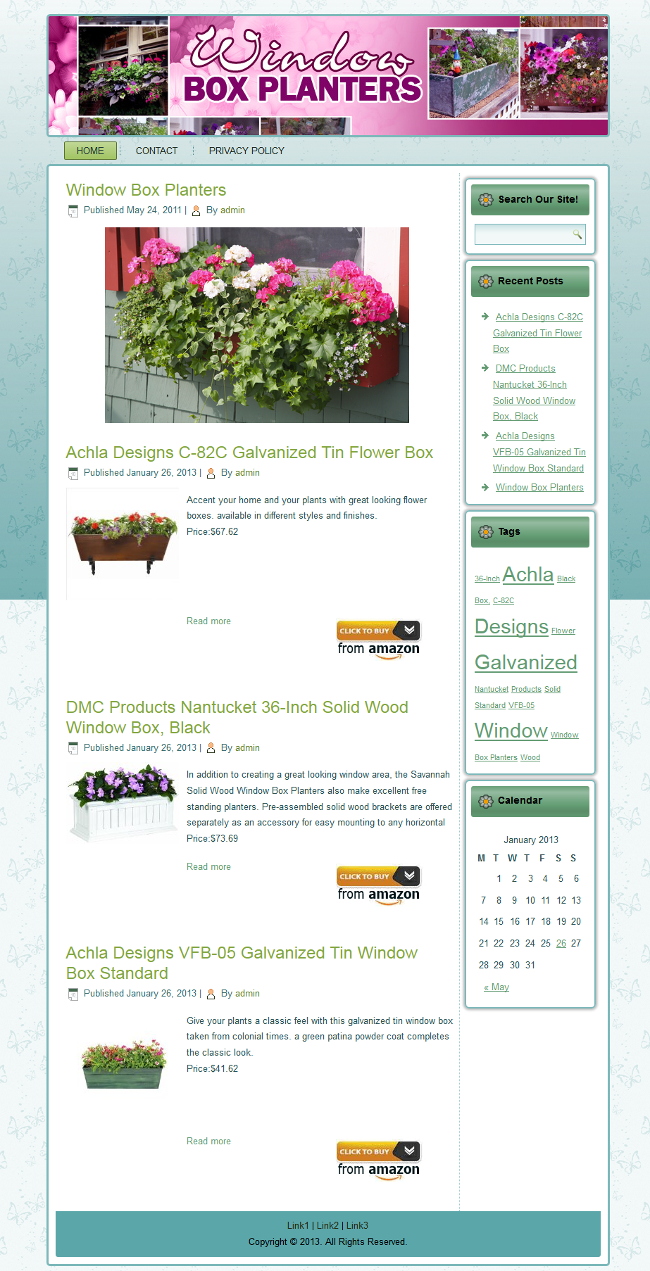 Target Monthly Box: Windowbox Planters Website-This Is A Custom Made Blog That