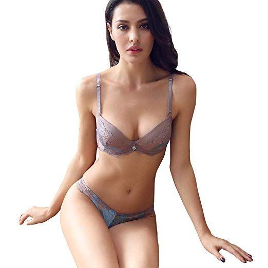 154c455ae9c1 Women Lace Bra Set Sexy Lingerie Bra and Panties Push up (Coffee ...