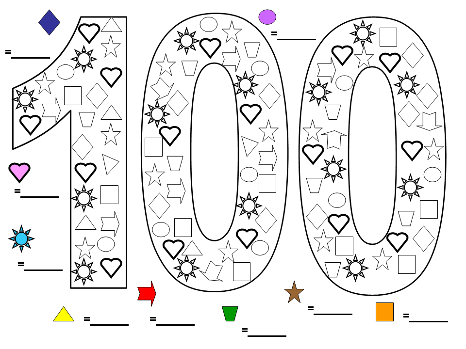 Here\'s a great colouring worksheet I made up for 100 Days at school ...