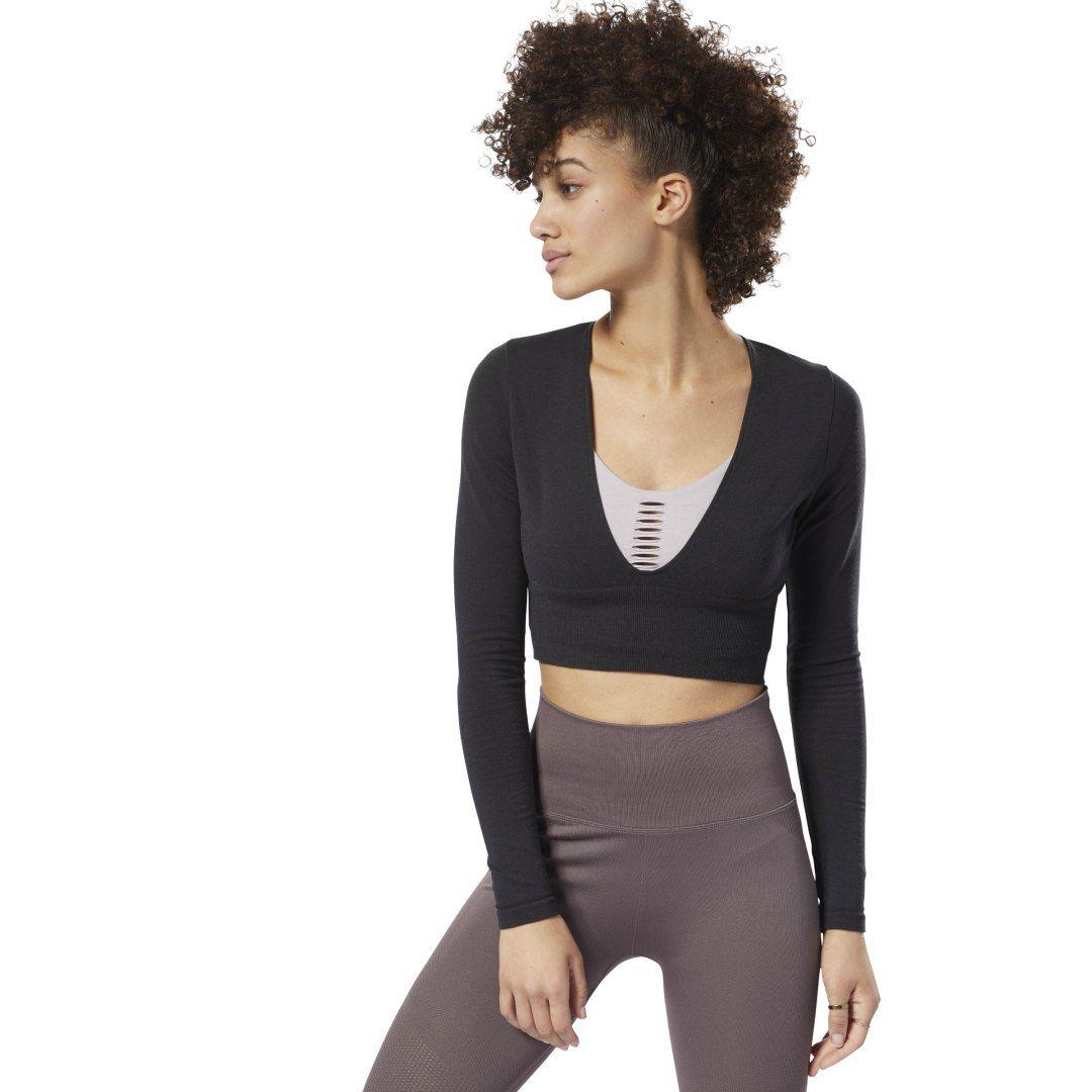 REEBOK Women's Nature X Long Sleeve Top in Black Size 2XS