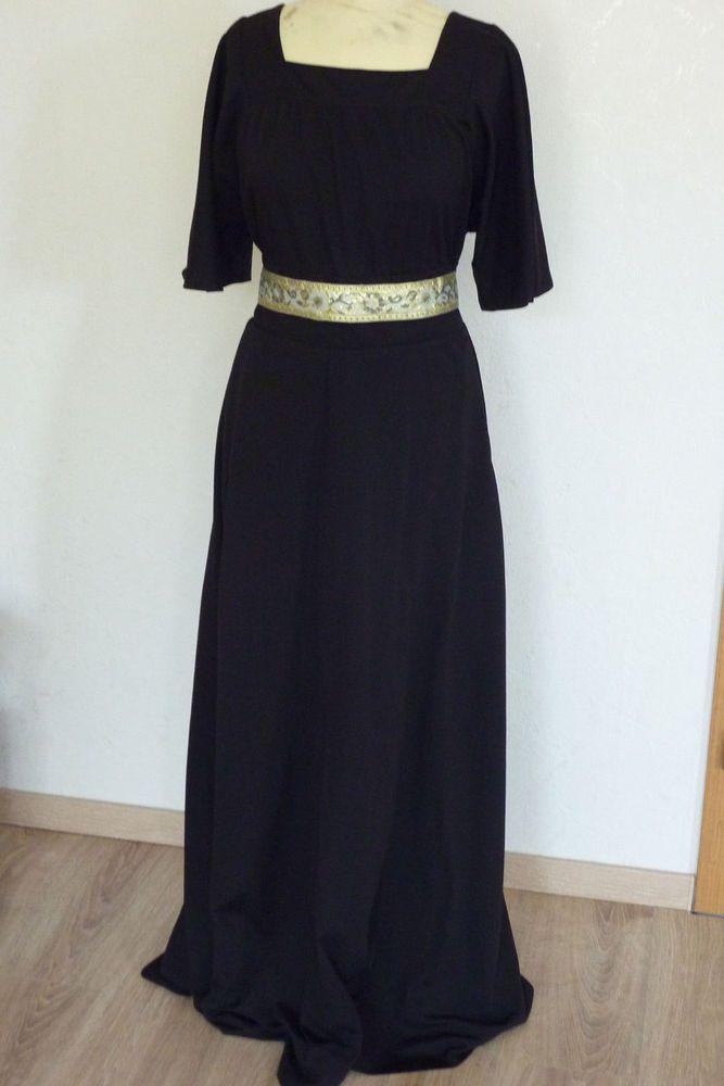 schwarzes langes Kleid M L 40 Gothic WGT Abiball Steampunk ...