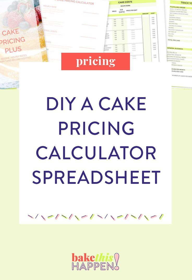 Build your own cake pricing calculator in excel cake