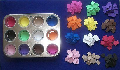 Muffin tray - sorting, sight words, numbers, colours, alphabets
