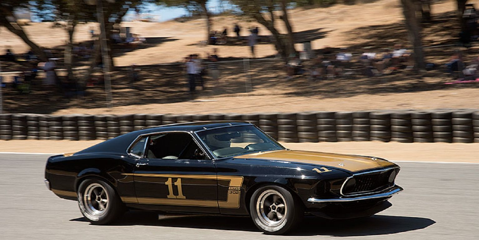 One of the Kar Kraft prepared Boss 302 Trans Am Ford Mustangs on sorting out run.