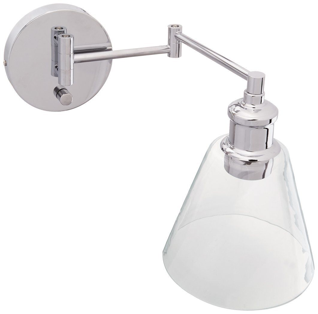 Globe Electric Leclair 1 Light Plug In Or Hardwire Industrial Wall Sconce Chrome Finish On X2f Of Industrial Wall Sconce Wall Sconce Lighting Globe Electric