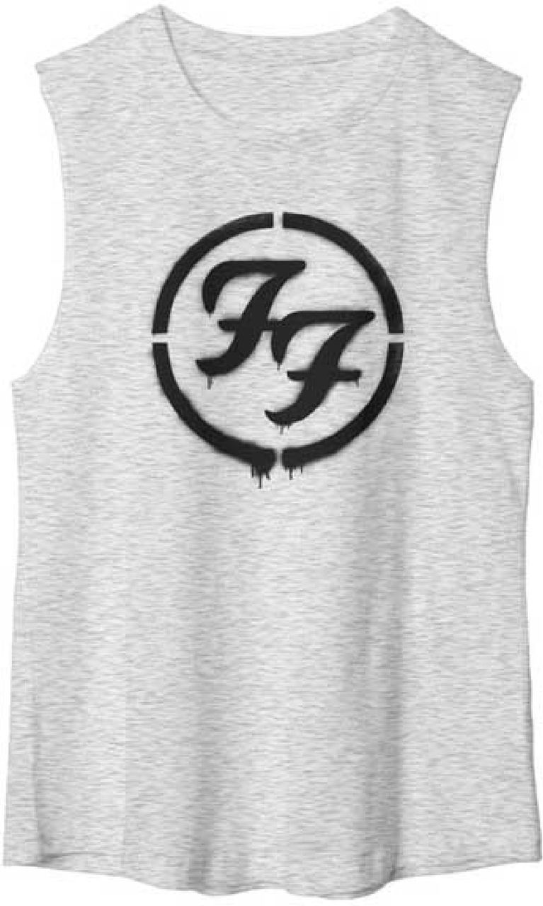 Our women's Foo Fighters tshirt spotlights the alternative rock band's famous FF logo. Formed by Nirvana drummer, Dave Grohl, in 1995, after Nirvana disbanded following the death of lead singer Kurt Cobain, the Foo Fighters have become one of the most famous and respected bands in rock and roll, releasing 8 albums and winning a total of 11 Grammy awards. This 100% cotton gray sleeveless muscle tee features the Foo Fighters' FF logo in a spray painted style graphic. #RockerRags #FooFighters