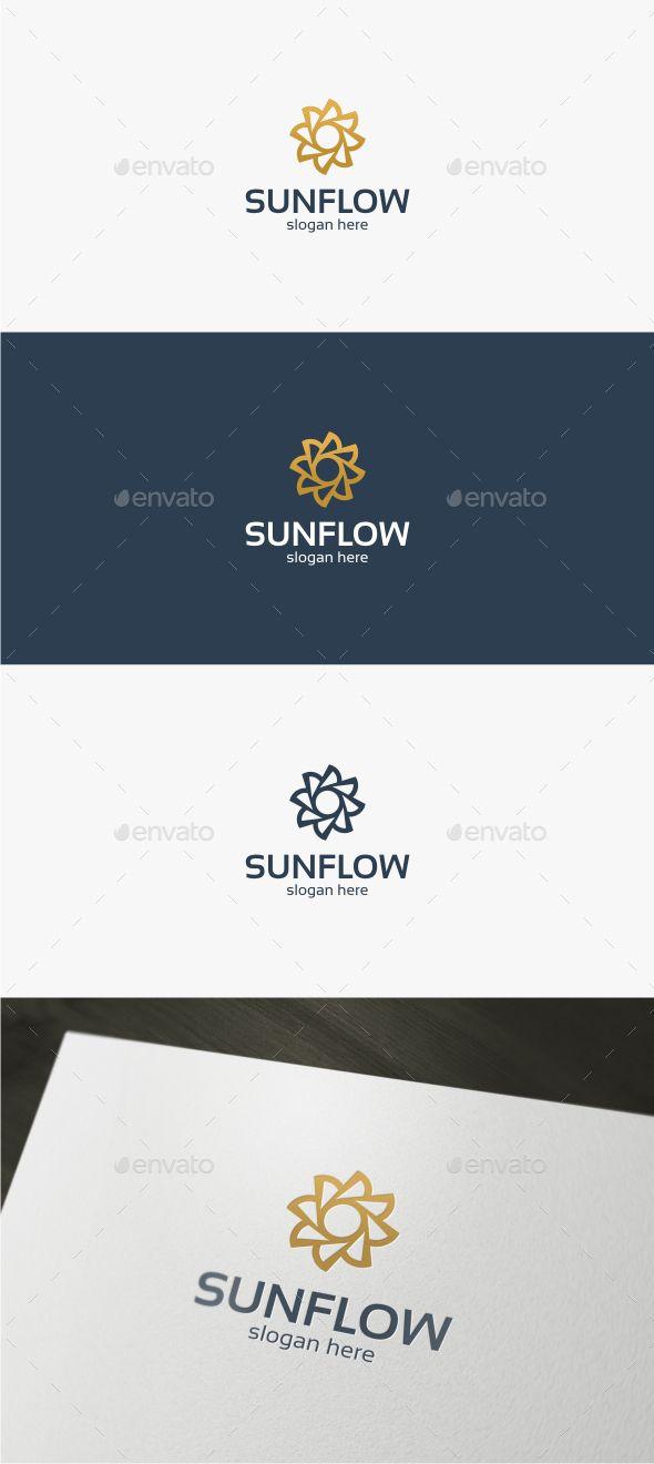 Sun Flower Logo Template Vector EPS