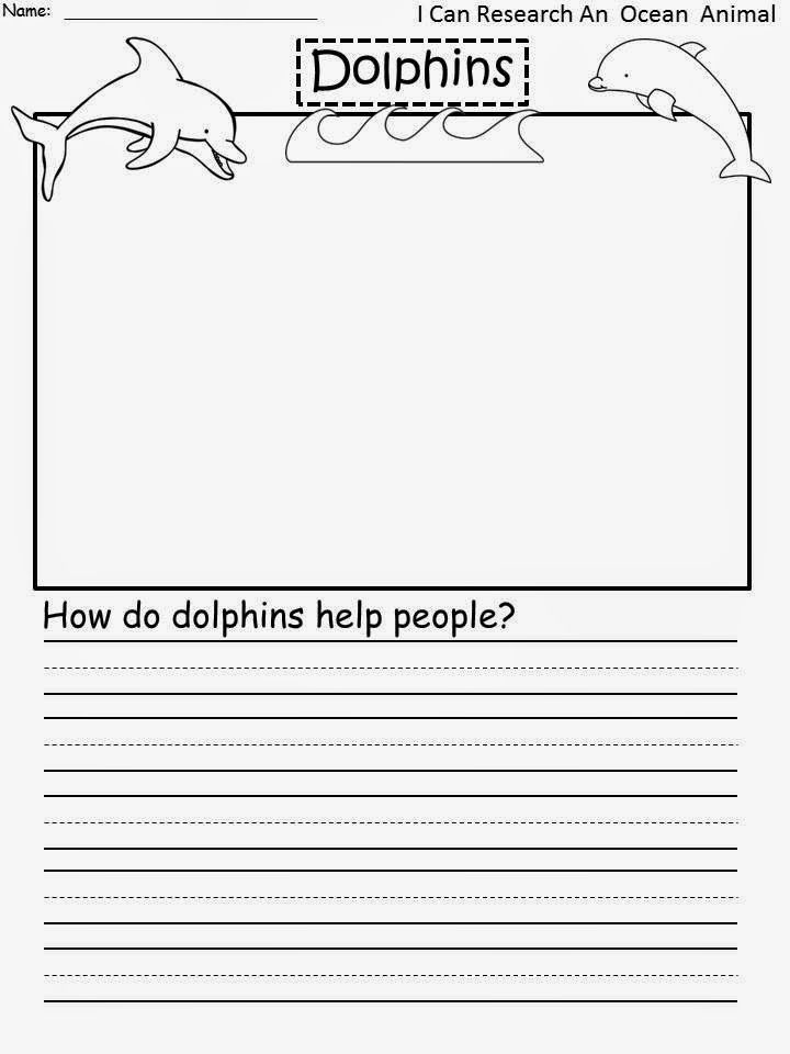 FreeDolphins My First Research Paper How do do dolphins help - free handwriting paper template
