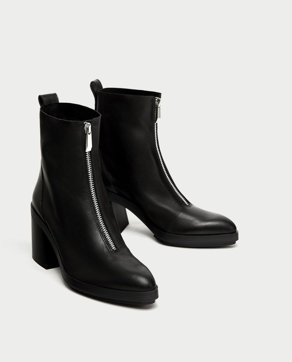 5c71189b600 Image 1 of HIGH HEEL LEATHER ANKLE BOOTS WITH ZIP from Zara | Kicks ...