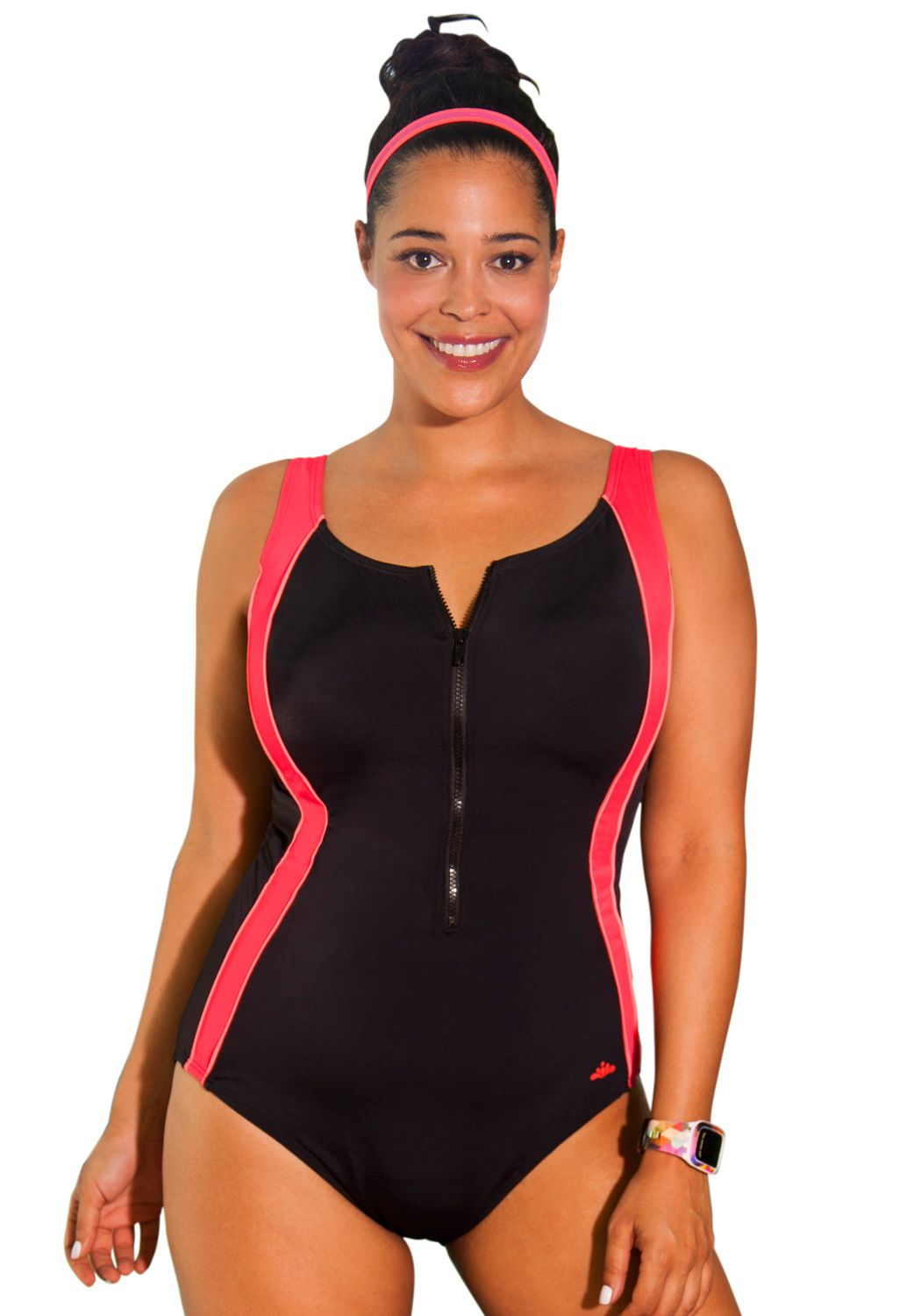 858ba263b0902 Aquabelle Womens Plus Size Chlorine Resistant Xtra Life Lycra Coral Zip  Swimsuit 22 Multi     You can get additional details at the image link.
