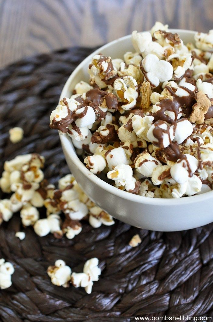 Smores-Popcorn | A list of the best 25 s'more recipes for summer. Smores dip, cookies, pie, brownies, and other ideas for tasty different ways to make that campfire dessert.