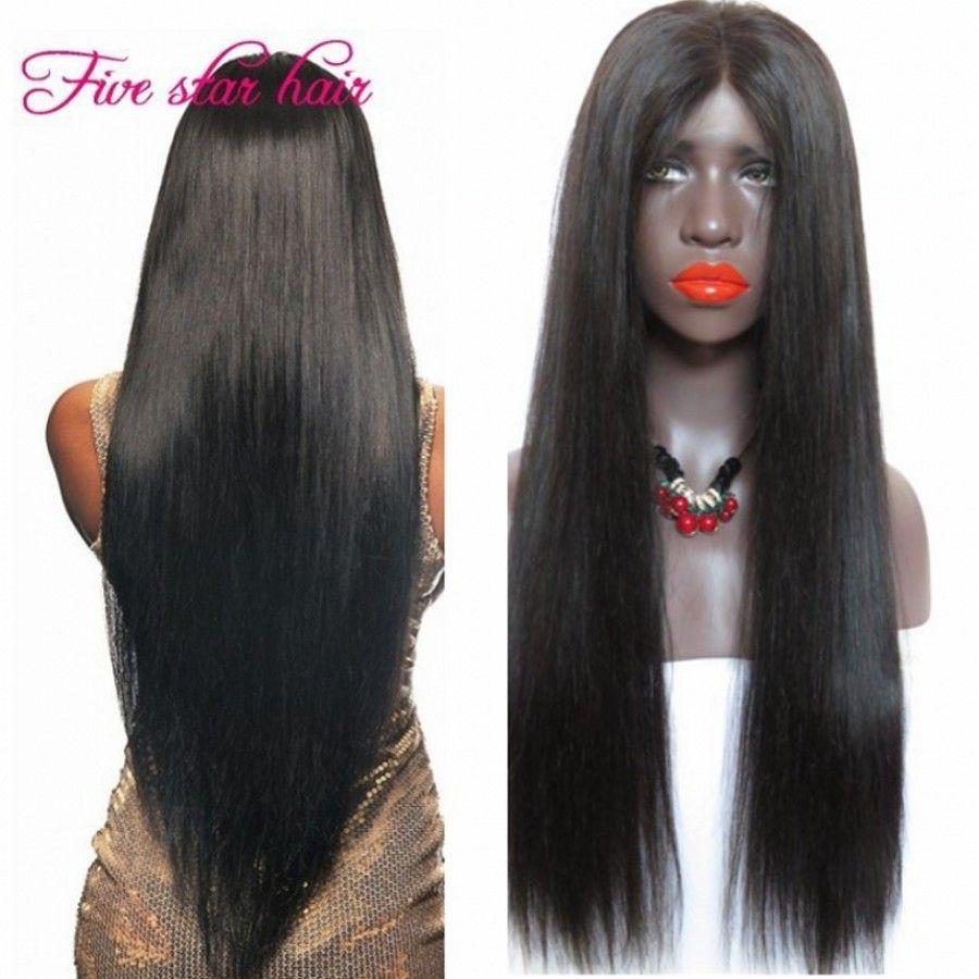 2016 não transformados perucas de cabelo com cabelo do bebê cheia do laço humano virgens brasileiras retas Glueless Lace Front perucas para as mulheres negras