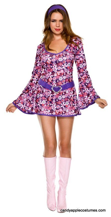 Adult Purple Floral Go Go Dress Costume - 60\'s Costumes - Candy ...