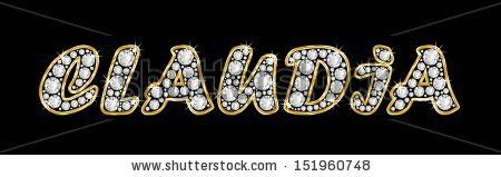 The name CLAUDIA made of a shiny diamonds style font