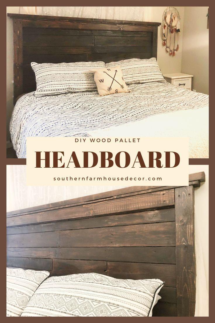 DIY Wood Pallet Headboard in 2020 Pallet wood headboard