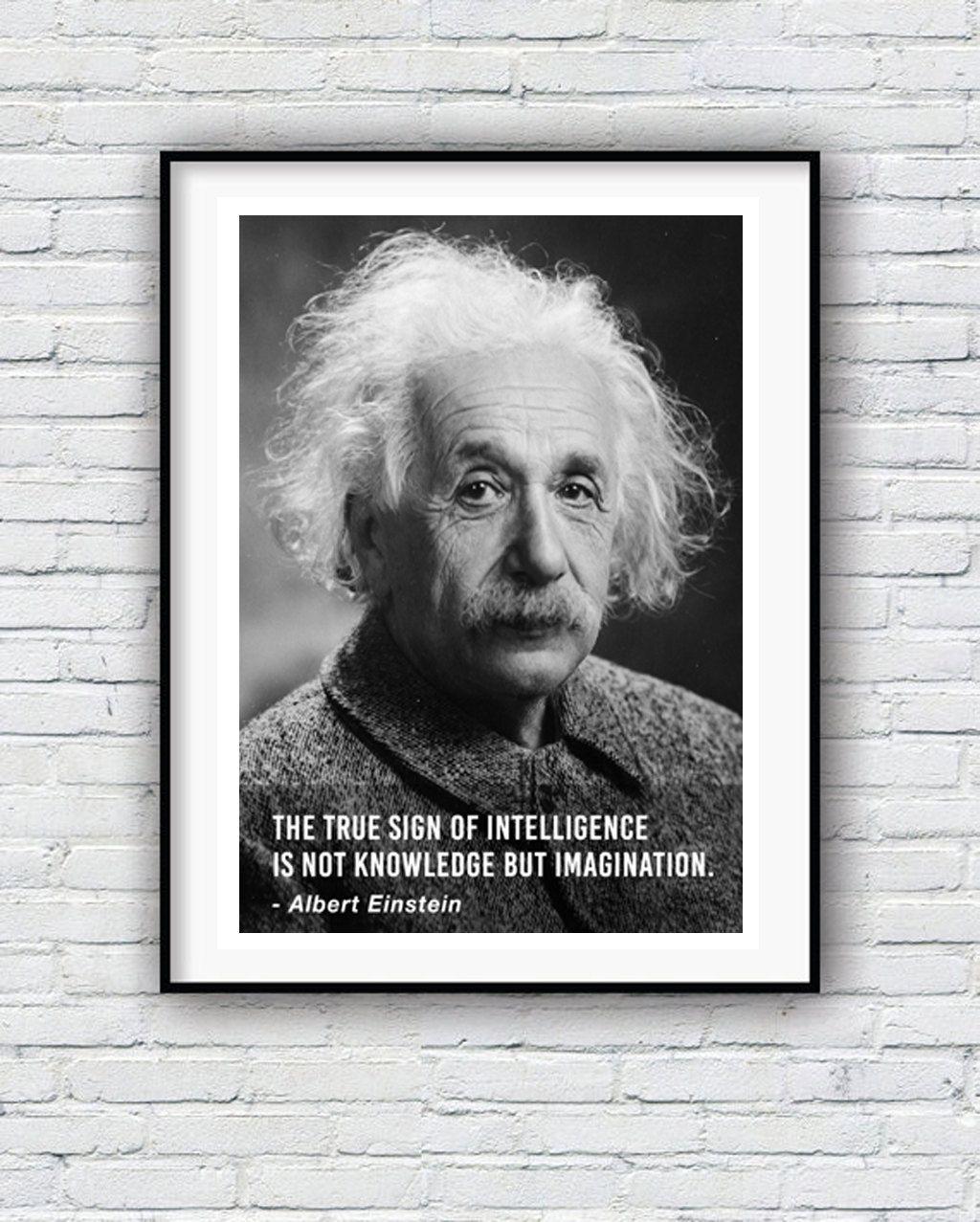 Albert Einstein Intelligence Quote Quote Poster Typographic Intelligence Quotes Einstein Quote Posters