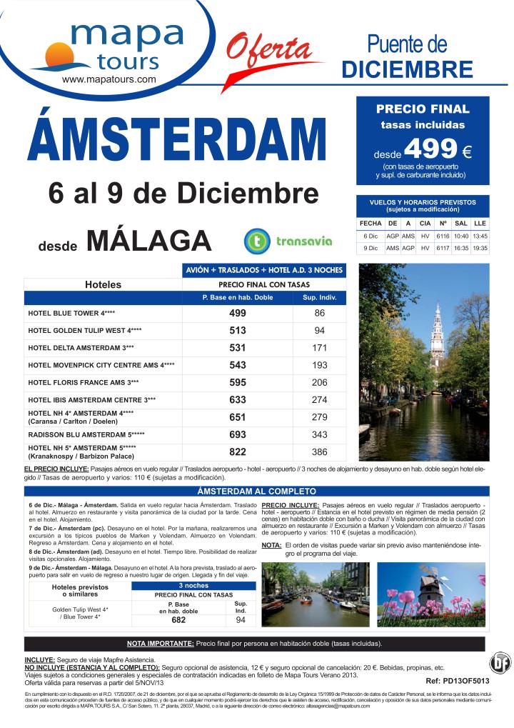 Amsterdam Puente de Diciembre salida Málaga 6 Dic. **Precio Final desde 546** - http://zocotours.com/amsterdam-puente-de-diciembre-salida-malaga-6-dic-precio-final-desde-546/