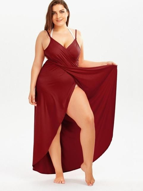 0fbafe9c2cb Gamiss 2017 Summer Sexy Plus Size 5XL Beach Wrap Cover Dress Long Split  Backless V Neck Maxi Casual Beach Dress Vestidos