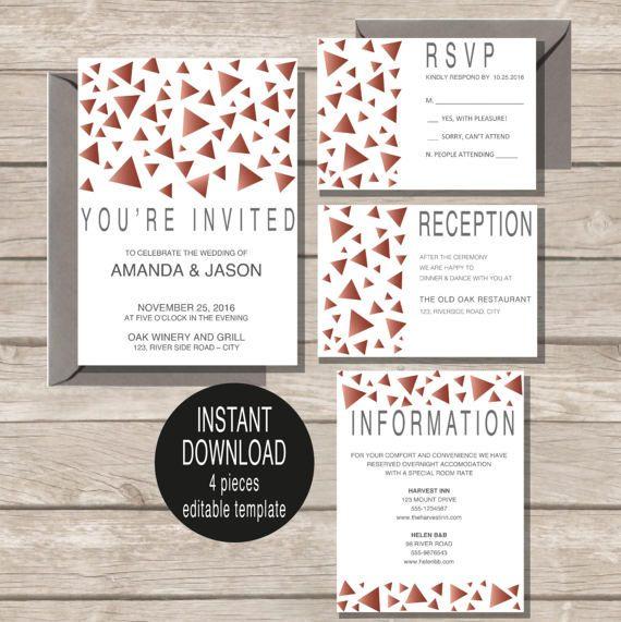 INSTANT DOWNLOAD Trendy Wedding Invitation template by redlinecs
