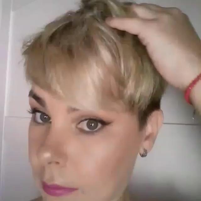 AINIA Short Human Hair Wigs Short Pixie Cut Wigs C