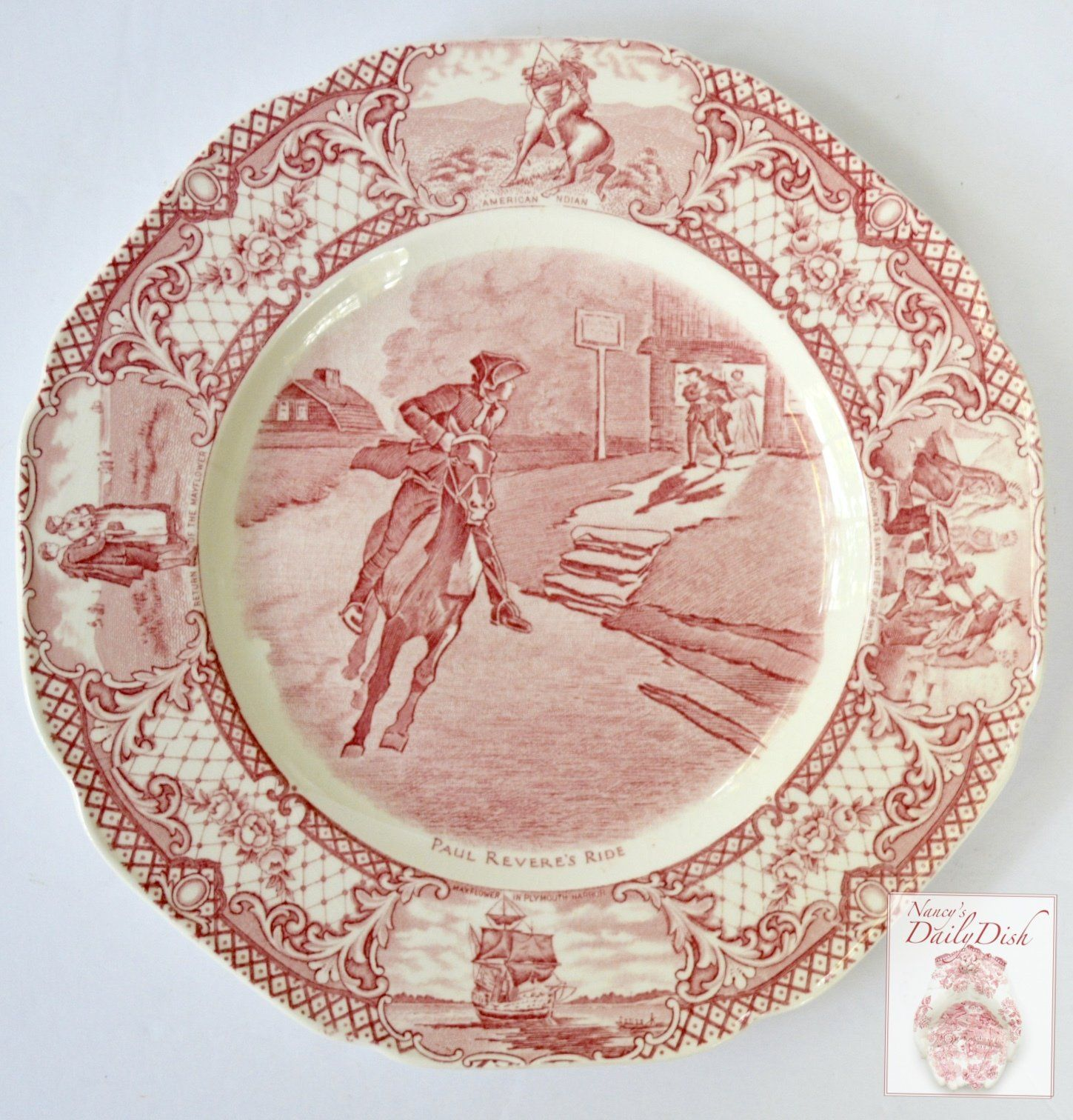 Red Colonial Times Transferware Plate Paul Revere S Ride