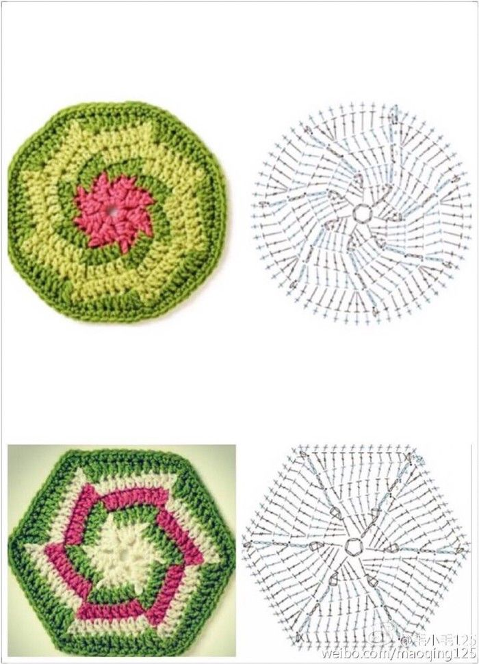 Motivi crochet esagonali | Labores varias | Pinterest | Ganchillo ...