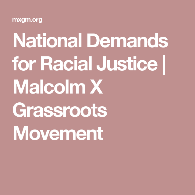 National Demands for Racial Justice | Malcolm X Grassroots Movement