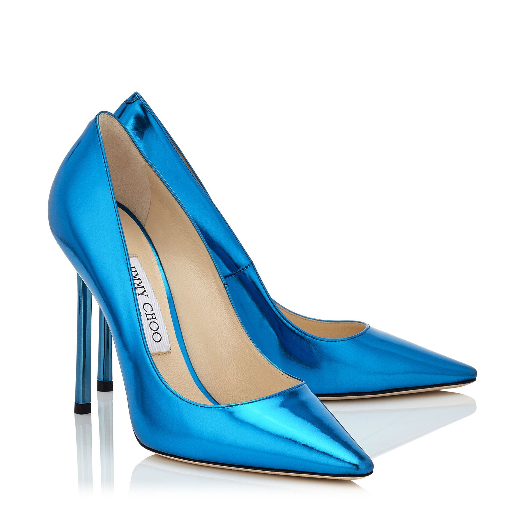 Robot Blue Mirror Leather Pointy Toe Pumps | Romy 110 | Pre Fall 16 | JIMMY CHOO