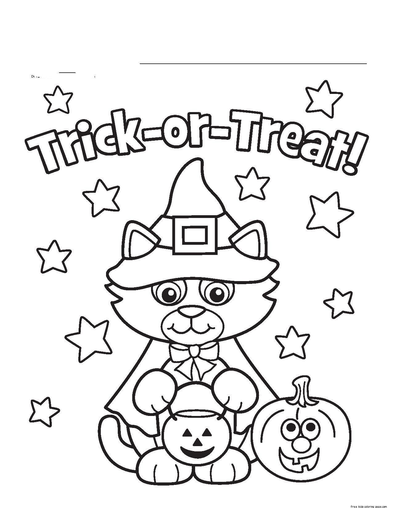Halloween Coloring Pages Kids Halloween Kitty Costume