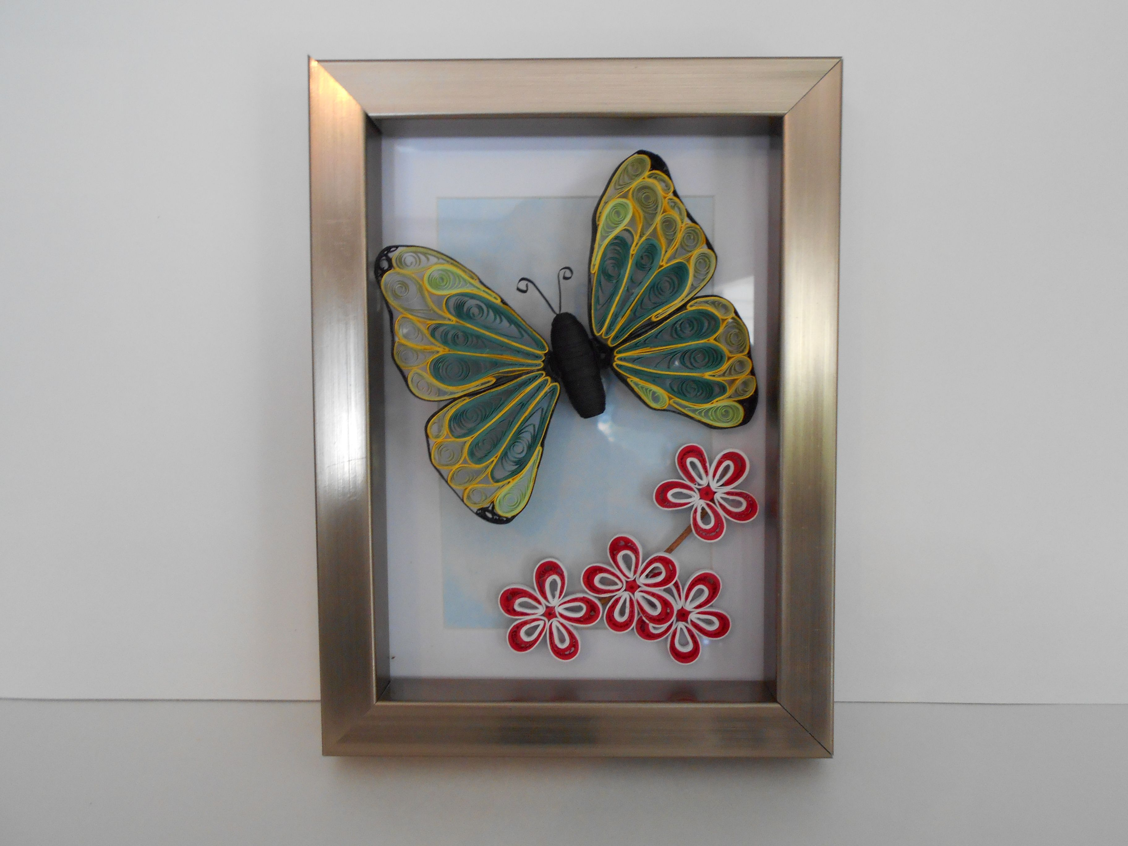 Butterfly flower framed wall hanging for sale on etsy