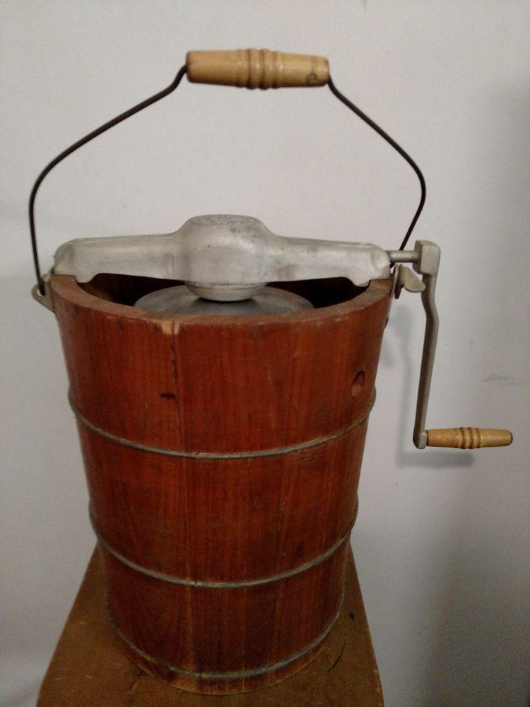 vtg antique white mountain ice cream hand crank freezer maker