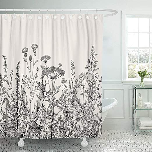 Amazonsmile Emvency Shower Curtain Floral Border Herbs And Wild