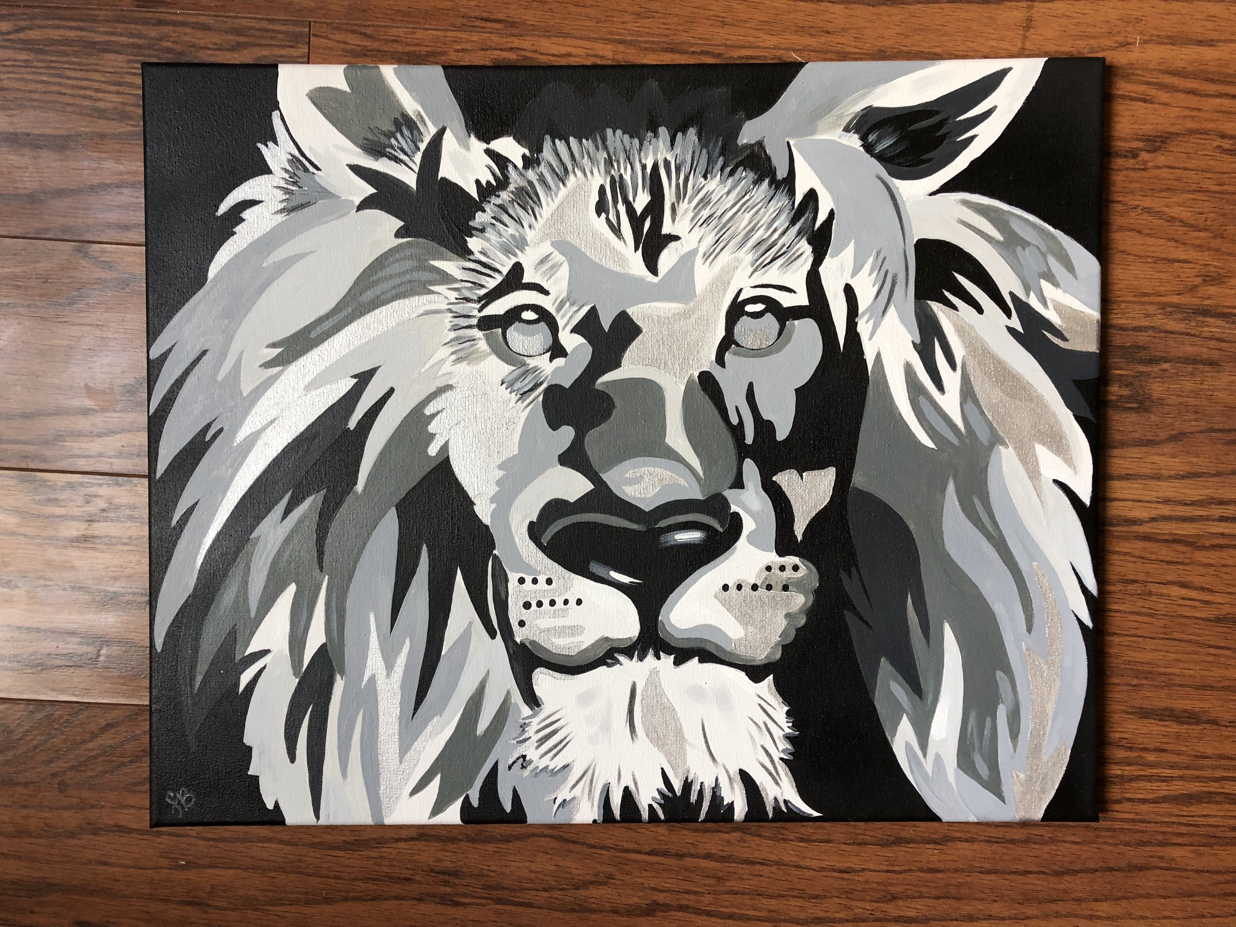 Black and white lion portrait acrylic painting on a 16x20 inch canvas